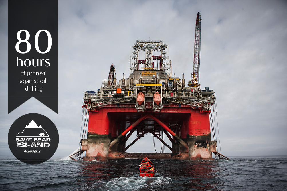 Action at Statoil Rig in the Barents Sea